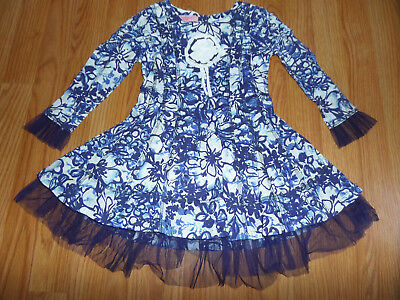 Beetlejuice London Girls Dress With Tulle Size 3 Blue Floral