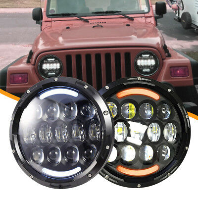 For Freightliner Century Class two 7''in LED Project Headlight H4 Plug High&Low
