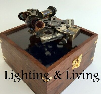 MARINE COLLECTIBLE BRASS WORKING GERMAN NAUTICAL SEXTANT WITH WOODEN BOX Vintage