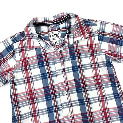 The Children's Place Boys Size 3T Button Up Plaid Shirt Short Sleeve Red Blue
