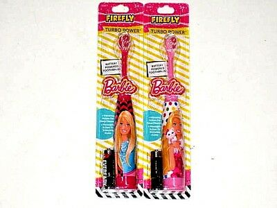 FIREFLY BARBIE Turbo Power Battery Powered Toothbrush SOFT - 2 toothbrushes
