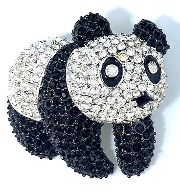 Signed  Napier  Pave' Black & Clear Rhinestone  Huge Panda Bear Pin Brooch