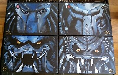 Predator. Set of 4 original paintings wall art