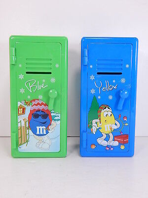 M&M LOCKER BANKS, Two Miniature Green & Blue Plastic, RETIRED Collectibles, 2002