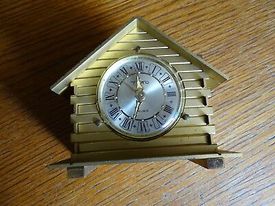 Vintage Alarm Clock Brass Treo 7 Ruby In The Form Of Chalet