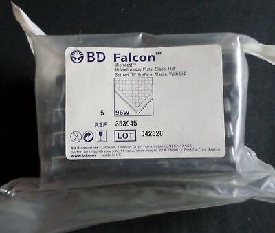 (5) BD Falcon 96-Well Microtest TC Assay Plate, Black, Sterile, Lid, 353945