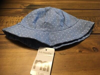 Mothercare Girls Hat Blue With Pale Blue Spot Design 3-6 Months Cotton Bnwt
