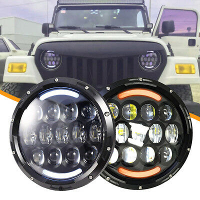 "DOT 7"" LED Headlight Hi/Lo Beam DRL Amber Turn Lamp For Mazda Miata MX5 warranty"