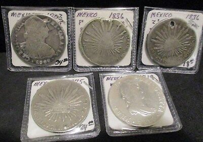 Lot of (5) Mexico Silver 8 Reales - All with Damage      ENN COINS