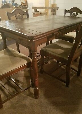 Antique Dining Room Table and 4 Matching Chairs with Attached Extensions