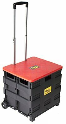 Quik Cart Two-Wheeled Collapsible Handcart with Red Lid Rolling Utility Cart