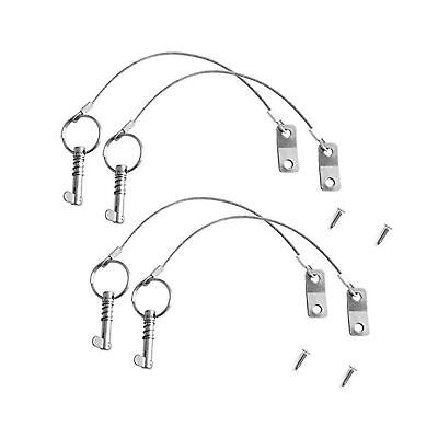"""Daimay 4 Pack Quick Release Pin with Lanyard 1/4"""" w/Drop Cam & Spring Marine ..."""