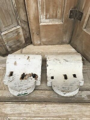Antique Architectural Salvage Corbel Plinth White Chippy Lot Pair