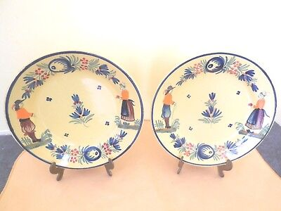 2 Yellow Antique (1920`s) Henriot Quimper France 7 inch plates