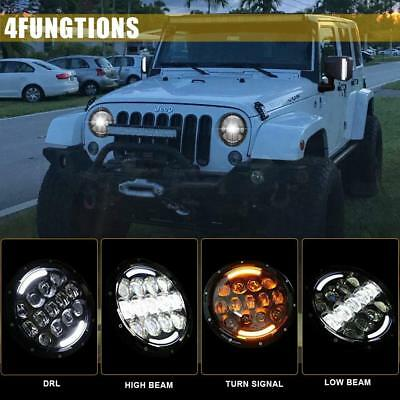 "For Jeep Liberty Patriot CJ5/7 7""LED Halo Angel Eyes Headlight H4-H13 H6024 dual"