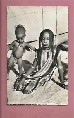Vintage Unused Postcard - Young African Female Nomad & Child