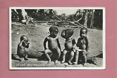 Vintage Unused Photographic Postcard - Mixed Expressions - Four African Children