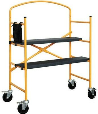 4' Rolling Painter Scaffold Drywall Painting Platform Adjustable 4 Heights Step