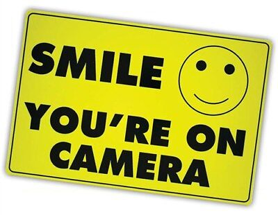 Smile You're on Camera Yellow Business Security Sign CCTV Video Surveillance