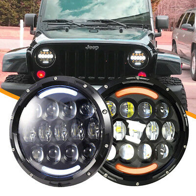 7inch Round Led Headlight Projector DRL Hi/Lo Beam For FREIGHTLINER Century Land