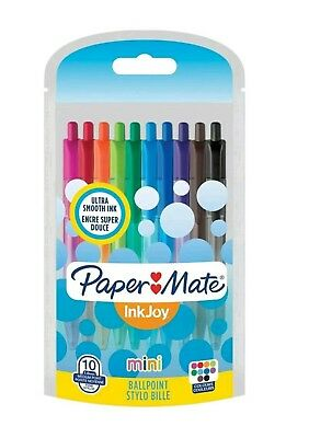 Paper Mate Inkjoy 100 Mini Retractable Ballpoint Pens - Fun Coloured Pens x 10