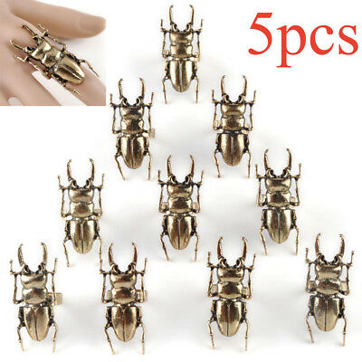 5pcs Bronze Ring Egyptian Scarab Beetle Insect Vintage Bug Ring Adjustable