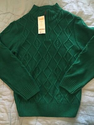 NWT Gymboree Boys M 7 8 Solid 1/4 Zip Pullover Sweater New Christmas Green
