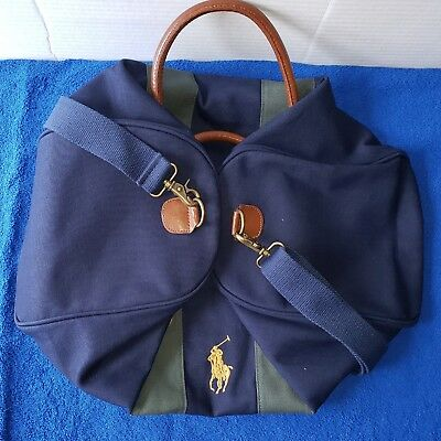 a53160704436 Polo Ralph Lauren Travel Weekender Gym Duffle Travel Bag Canvas Big Pony  Leather
