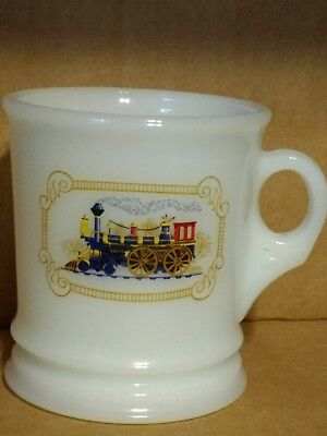 Avon Milk Glass Mug Cup Shaving Locomotive Train Shave Vintage
