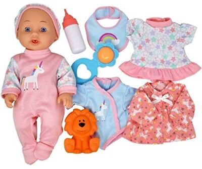 """Kids Baby Doll Drink Wet Play Set Pretend 12"""" Bottle Toy 8 Pc Toddler Gift New"""