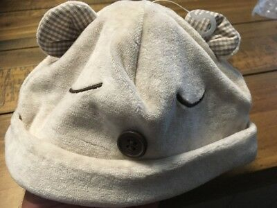 Mothercare Boys Hat Beige With Button Design Medium Up To 12 Months Bnwt