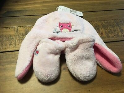 Mothercare Girls Hat And Mittens Set  Pink Embroidery Design Up To 6 Months Bnwt
