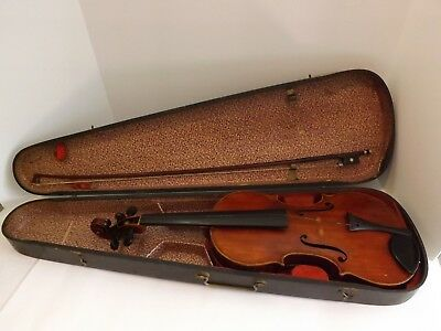 Beautiful Antique Violin with Antique Bow in Old Wood Hard Case