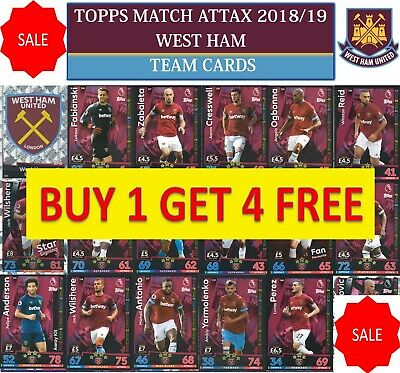 Topps Match Attax 2018 2019 18 19 Choose your WEST HAM team cards
