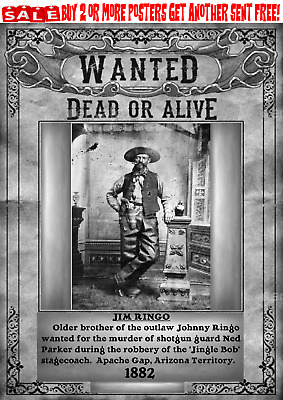 Old West Wanted Poster Outlaw Ringo Gunfighter Western Bank Train Reward Corral