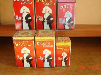 6 Droste Cacao Tins From Holland