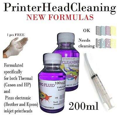 Unblock print head nozzle for Epson Brother, Printer cleaner, cleaning kit 200ml