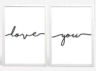 Love You Set 2 Typography Prints Posters Unframed Home Quote Love Bedroom