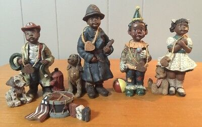 Black Americana Figurine by Sarah's Attic - Fireman, Clown, Girl, Police Lot