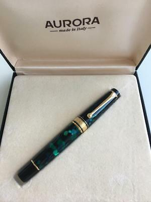Aurora Optima Fountain pen 14k Medium Stub nib Green color