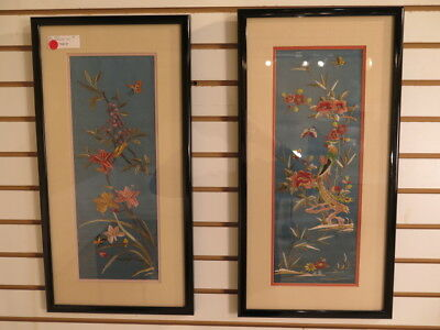 LF39816: Pair Framed & Matted Chinese Silk Embroidered Panels