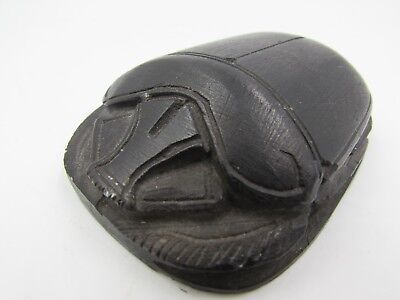 "Vintage 2.75"" Finely Carved Stone Scarab Ancient Egyptian Beetle Hieroglyphics"