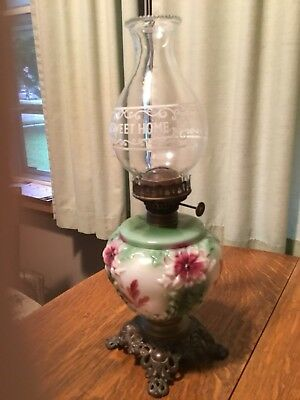 Antique oil Lamp Pressed Glass Parlour Lamp