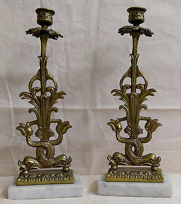 Antique Koi Fish Dolphin Brass Candle Holder Marble Base Pair Сandelabrum
