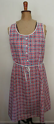 VINTAGE 1970'S ~ Pink White Light Blue Printed Check Cotton Sundress ~ 12 to 14