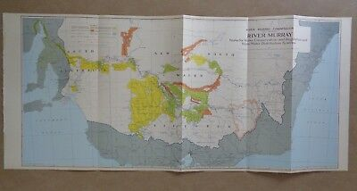 1950 Coloured Map of the River Murray *excellent condition*