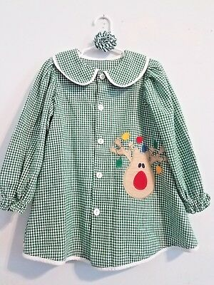 Little Girls 3T Green & White Plaid Reindeer Embroidered Boutique Dress & Bow!