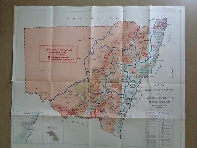 1952 Coloured Rural Production of NSW Map * great condition *