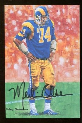 Merlin Olsen Signed Goal Line Art Card GLAC Autographed Gold Seal Rams