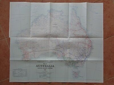 1960 Commonwealth Railways: Map of Australia (coloured, excellent condition)